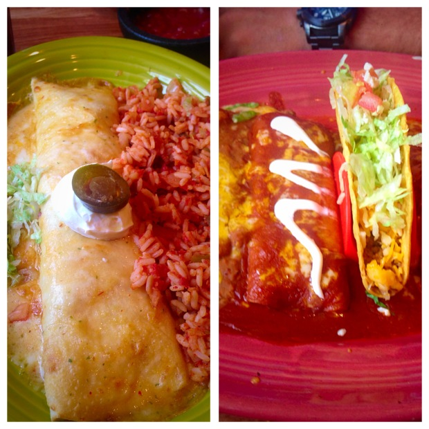 Chipotle Chicken Burrito for her, Ground Beef Combo for him :)
