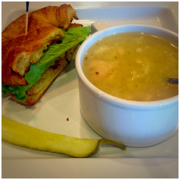 Chicken Salad on Croissant and Chicken and Dumpling Soup